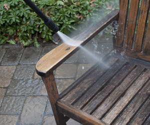 washing a garden chair