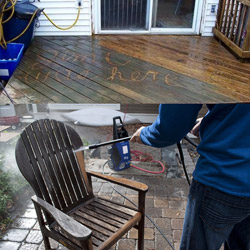 cleaning a wooden deck and furniture
