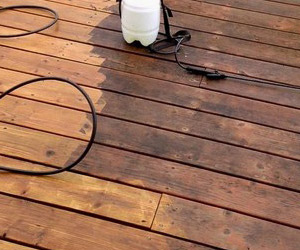 before/after photo of a wooden deck
