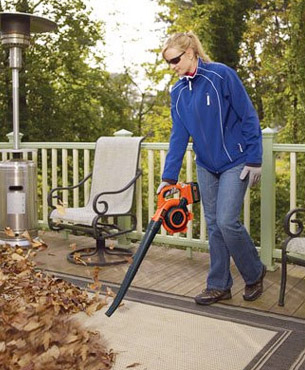 getting rid of leaves around garden furniture