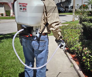 Chapin battery powered sprayer in action