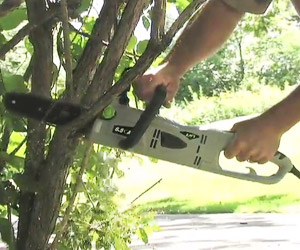 using the small chainsaw