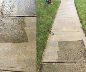 before/after photos of a cleaned walkway
