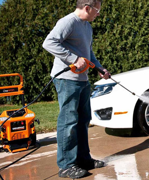 power washing a car with the Generac 6602