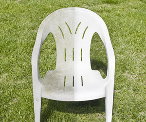 a plastic chair before and after