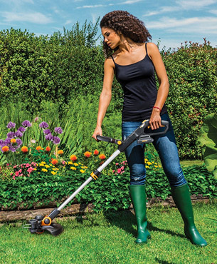 using the WORX WG163 GT 3.0 to trim your garden